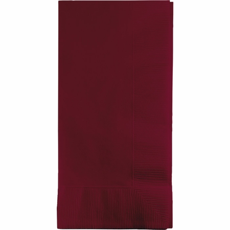 Touch of Color Burgundy 2 Ply Dinner Napkins in quantities of 50 / pkg, 12 pkgs / case