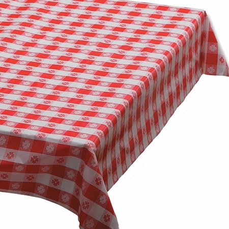 "Red Gingham 54"" x 108"" Plastic Tablecloths are sold in quantities of 1 / pkg, 12 pkgs / case"