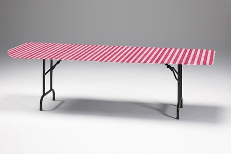 "Red Gingham Stay Put 29"" x 72"" Tablecloths sold in quantities of  1 / pkg, 12 pkgs / case"