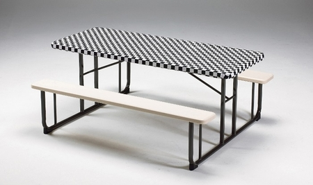 """Black Check Stay Put 30"""" x 96"""" Tablecloths sold in quantities of  1 / pkg, 12 pkgs / case"""