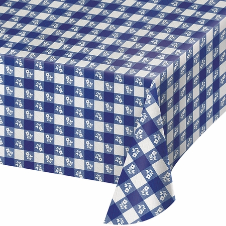 Blue Gingham Plastic Tablecloths 12 ct