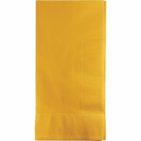 Touch of Color School Bus Yellow 2 Ply Dinner Napkins in quantities of 50 / pkg, 12 pkgs / case