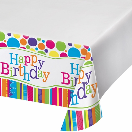Multicolored Bright And Bold Tablecloths sold in quantities of 1 / pkg, 6 pkgs / case.