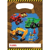 Brown and blue Under Construction Loot Bags sold in quantities of 8 / pkg, 12 pkgs / case