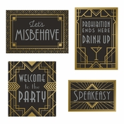 Roaring 20s Wall Signs Decorations Kit 30 ct