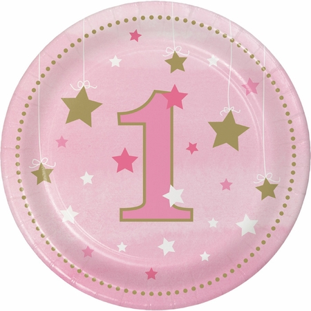 One Little Star Girl 1st Birthday Dessert Plates 96 ct