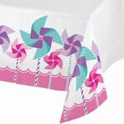 1st Birthday Pinwheel Girl Table Covers 6 ct