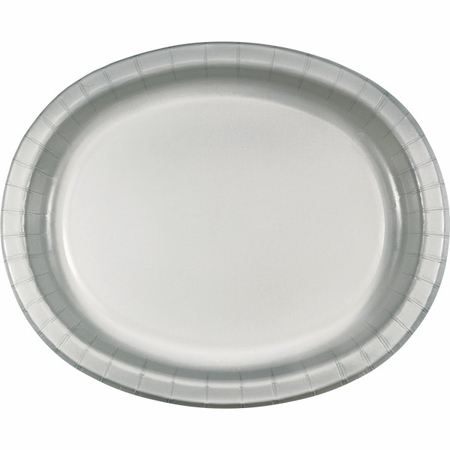 Shimmering Silver Oval Platters sold in quantities of 8 / pkg, 12 pkgs / case.