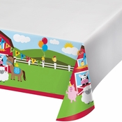 Red and green Farmhouse Fun Tablecloths are sold 1 / pkg, 6 pkg / case