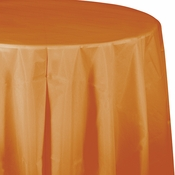 Pumpkin Spice Orange Octy-Round Plastic Tablecloths 12 ct