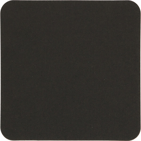 Square Black Coasters sold in quantities of 500 / pkg, 1 pkg / case.