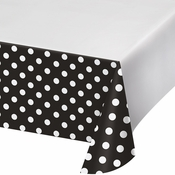 Black Polka Dots and Stripes Plastic Tablecloths 12 ct