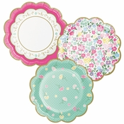 Floral Tea Party Scalloped Dessert Plates 96 ct