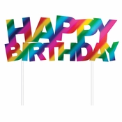 Rainbow Foil Happy Birthday Cake Toppers 12 ct