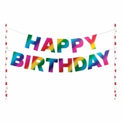 Rainbow Foil Happy Birthday Cake Banners 12 ct