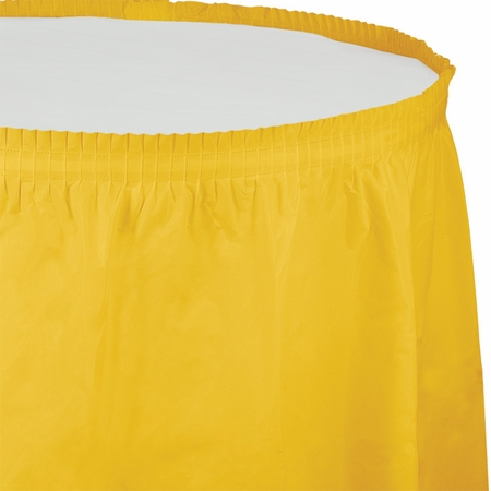 Touch of Color School Bus Yellow Plastic Tableskirt in quantities of 1 / pkg, 6 pkgs / case