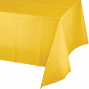 Touch of Color School Bus Yellow Plastic Tablecloths in quantities of 1 / pkg, 12 pkgs / case