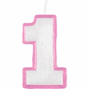 Pink 1st Birthday Candles 6 ct