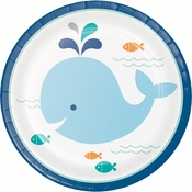 Blue Baby Whale Dessert Plates 96 ct