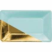 Mint and Gold Foil Appetizer Plates 48 ct
