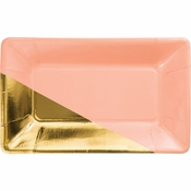 Coral and Gold Foil Appetizer Plates 48 ct