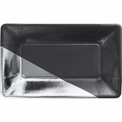 Charcoal and Silver Foil Appetizer Plates 48 ct