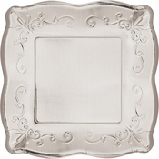 Silver Embossed Square Dessert Plates 48 ct