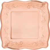Rose Gold Embossed Square Dessert Plates 48 ct