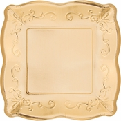 Gold Embossed Square Dessert Plates 48 ct