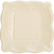 Linen Embossed Square Banquet Plates 48 ct