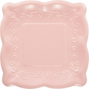 Pink Embossed Square Dessert Plates 48 ct