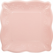 Pink Embossed Square Banquet Plates 48 ct