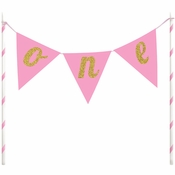 1st Birthday Girl Cake Banners 12 ct