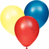 Yellow, blue and red latex balloons