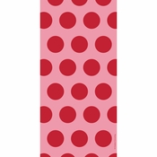 Red Polka Dots Cello Treat Bags measure 11.25 inches x 5 inches and are sold in quantities of 20 /pkg, 12 pkgs / case