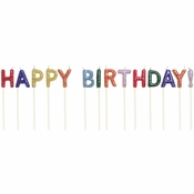 Happy Birthday Glitter Pick Candles 12 ct