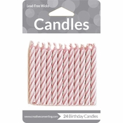 Pink Striped Candles 288 ct
