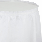 Touch of Color White Plastic Tableskirt in quantities of 1 / pkg, 6 pkgs / case