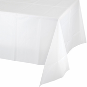 Touch of Color White Plastic Tablecloths in quantities of 1 / pkg, 12 pkgs / case