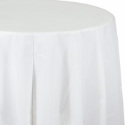 Touch of Color White Octy-Round Plastic Tablecloths in quantities of 1 / pkg, 12 pkgs / case