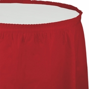 Touch of Color Classic Red Plastic Tableskirt in quantities of 1 / pkg, 6 pkgs / case