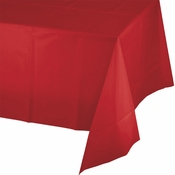 Touch of Color Classic Red Plastic Tablecloths in quantities of 1 / pkg, 12 pkgs / case