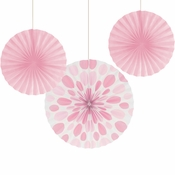 Pink Solid & Polka Dots Tissue Fans sold in quantities of 3 / pkg, 6 pkgs / case