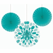 Teal Lagoon Paper Fan Sets 18 ct