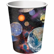 Black and blue Space Blast 9 oz Cups are sold in quantities of 8 / pkg, 12 pkgs / case