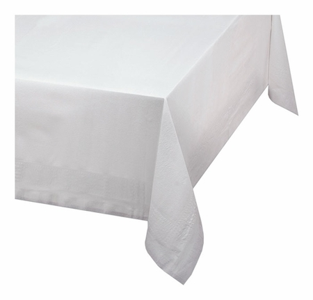 White Linen-Like Select Tablecloths are sold in quantities of 1 / pkg, 24 pkgs / case