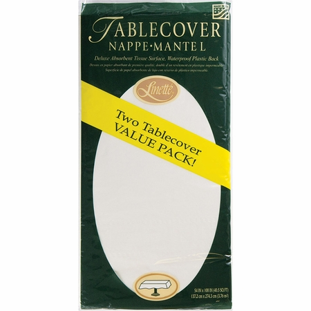 White Linette Paper Tablecloths 72 ct