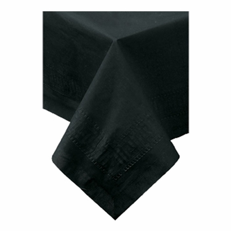 "Black Cellutex Paper Tablecloths measures 54"" x 108"" constructed of 2 ply tissue, 1 ply poly and sold in quantities of 1 / pkg, 25 pkgs / case"