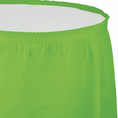 Touch of Color Fresh Lime Plastic Tableskirt 6 ct in quantities of 1 / pkg, 6 pkgs / case