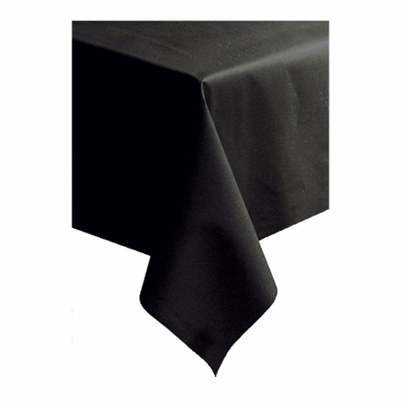 "Black Linen-Like 50"" x 108"" Tablecloths sold in quantities of 1 / pkg, 20 pkgs / case"